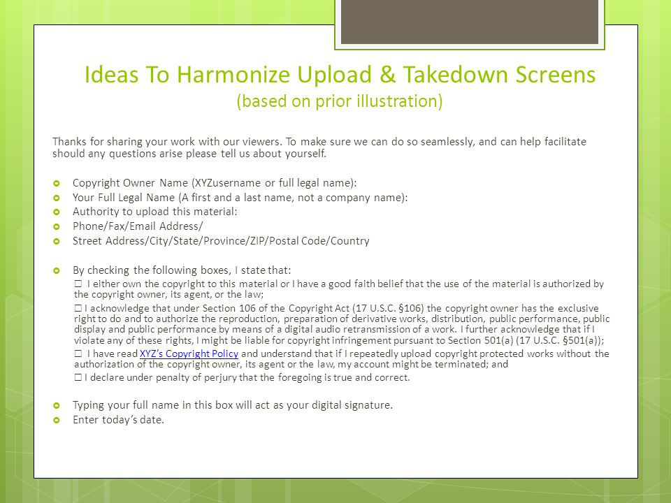 Ideas To Harmonize Upload & Takedown Screens (based on prior illustration) Thanks for sharing your work with our viewers.