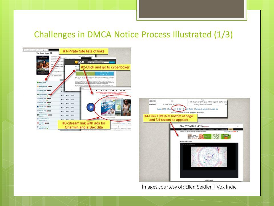 Challenges in DMCA Notice Process Illustrated (2/3) Images courtesy of: Ellen Seidler   Vox Indie