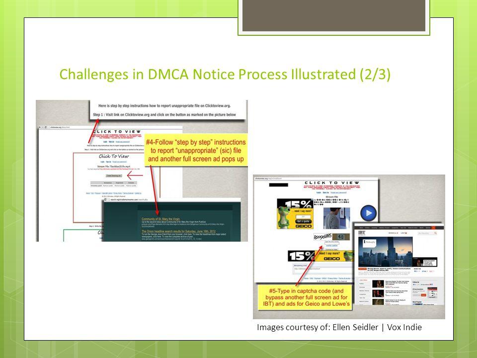 Challenges in DMCA Notice Process Illustrated (3/3) Images courtesy of: Ellen Seidler   Vox Indie