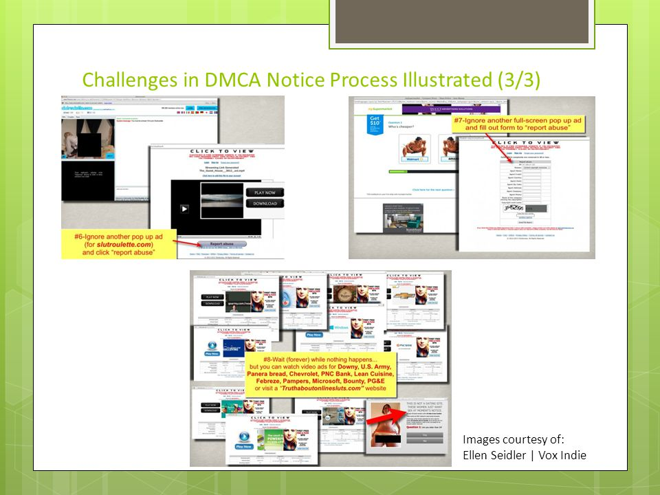 Challenges in DMCA Notice Process Illustrated (3/3) Images courtesy of: Ellen Seidler | Vox Indie