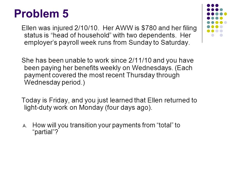 "Problem 5 Ellen was injured 2/10/10. Her AWW is $780 and her filing status is ""head of household"" with two dependents. Her employer's payroll week run"