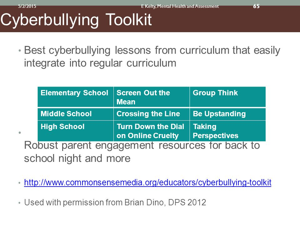 Best cyberbullying lessons from curriculum that easily integrate into regular curriculum Robust parent engagement resources for back to school night and more http://www.commonsensemedia.org/educators/cyberbullying-toolkit Used with permission from Brian Dino, DPS 2012 Elementary SchoolScreen Out the Mean Group Think Middle SchoolCrossing the LineBe Upstanding High SchoolTurn Down the Dial on Online Cruelty Taking Perspectives Cyberbullying Toolkit 5/2/2015E Kelty, Mental Health and Assessment 65