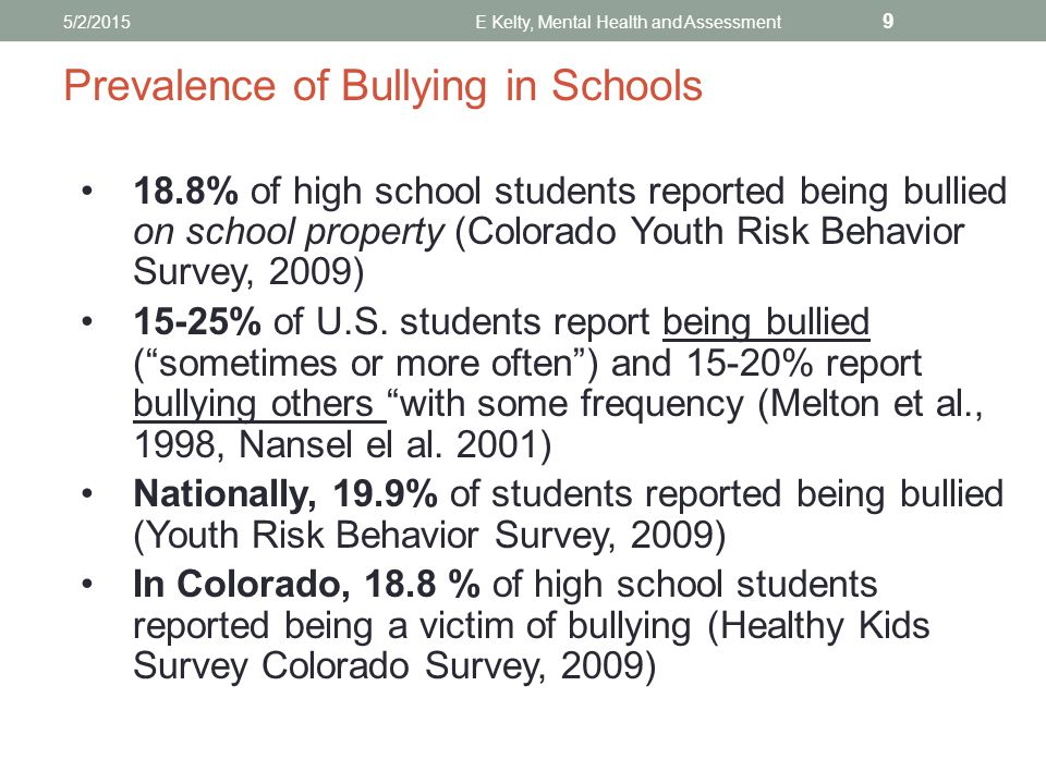 Prevalence of Bullying in Schools 18.8% of high school students reported being bullied on school property (Colorado Youth Risk Behavior Survey, 2009) 15-25% of U.S.