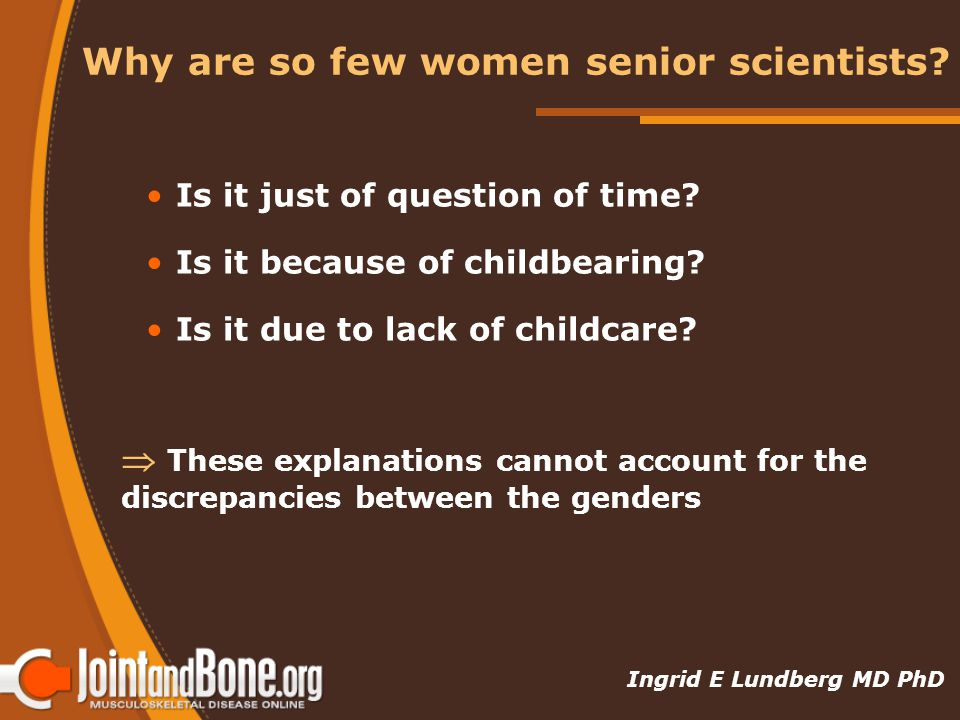Why are so few women senior scientists. Is it just of question of time.