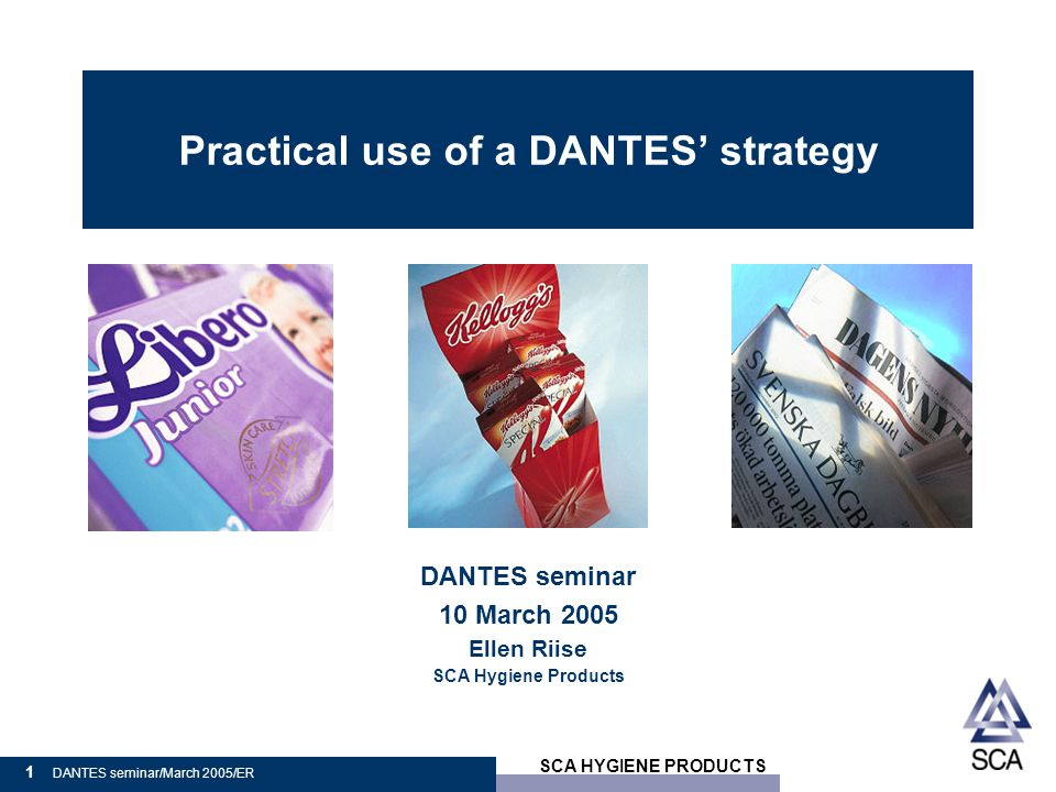 SCA HYGIENE PRODUCTS 2 DANTES seminar/March 2005/ER Transport  The task to solve: to map the company's transports  Because we had to do something with our transports Helen Ellen