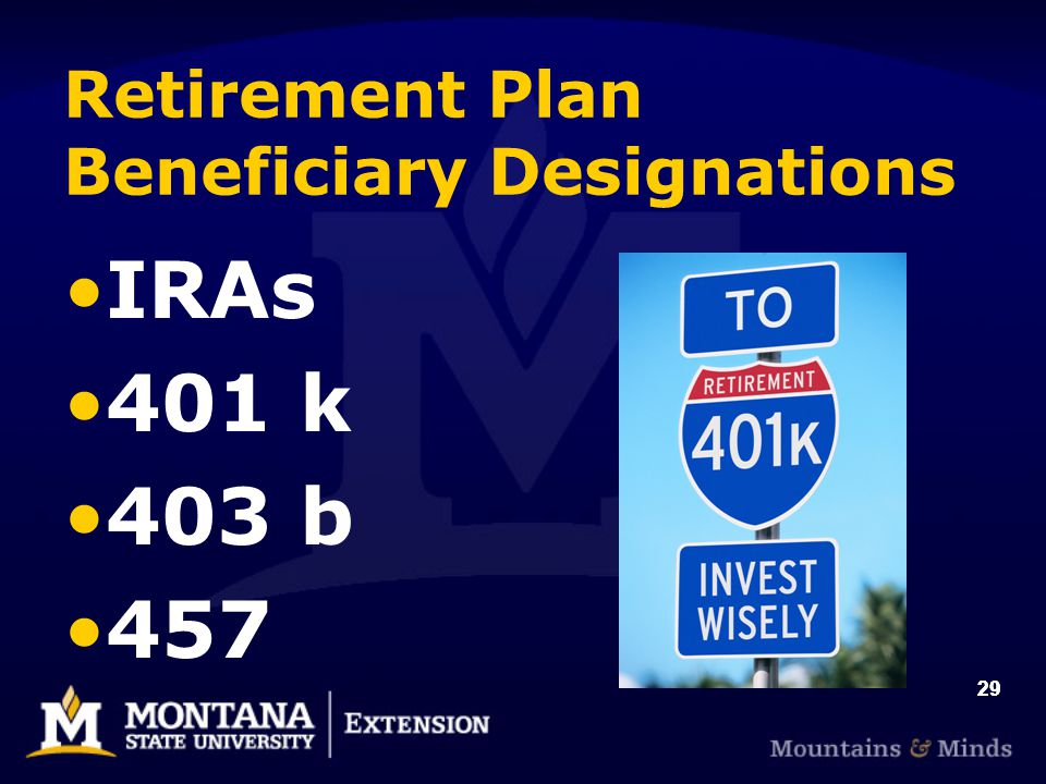 29 Retirement Plan Beneficiary Designations IRAs 401 k 403 b 457