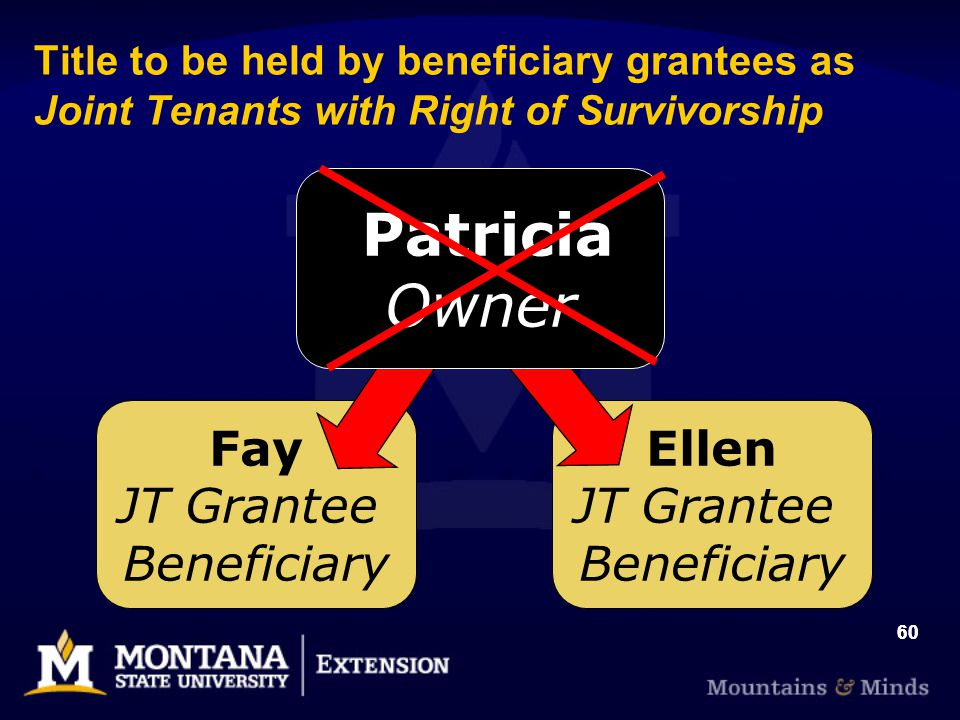 60 Fay JT Grantee Beneficiary Ellen JT Grantee Beneficiary Title to be held by beneficiary grantees as Joint Tenants with Right of Survivorship Patricia Owner