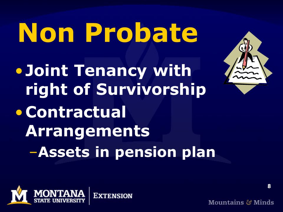 88 Non Probate Joint Tenancy with right of Survivorship Contractual Arrangements –Assets in pension plan