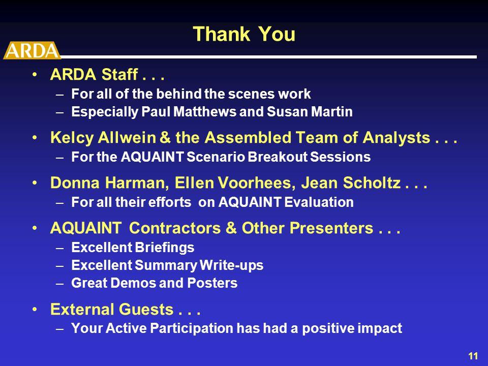 11 Thank You ARDA Staff...