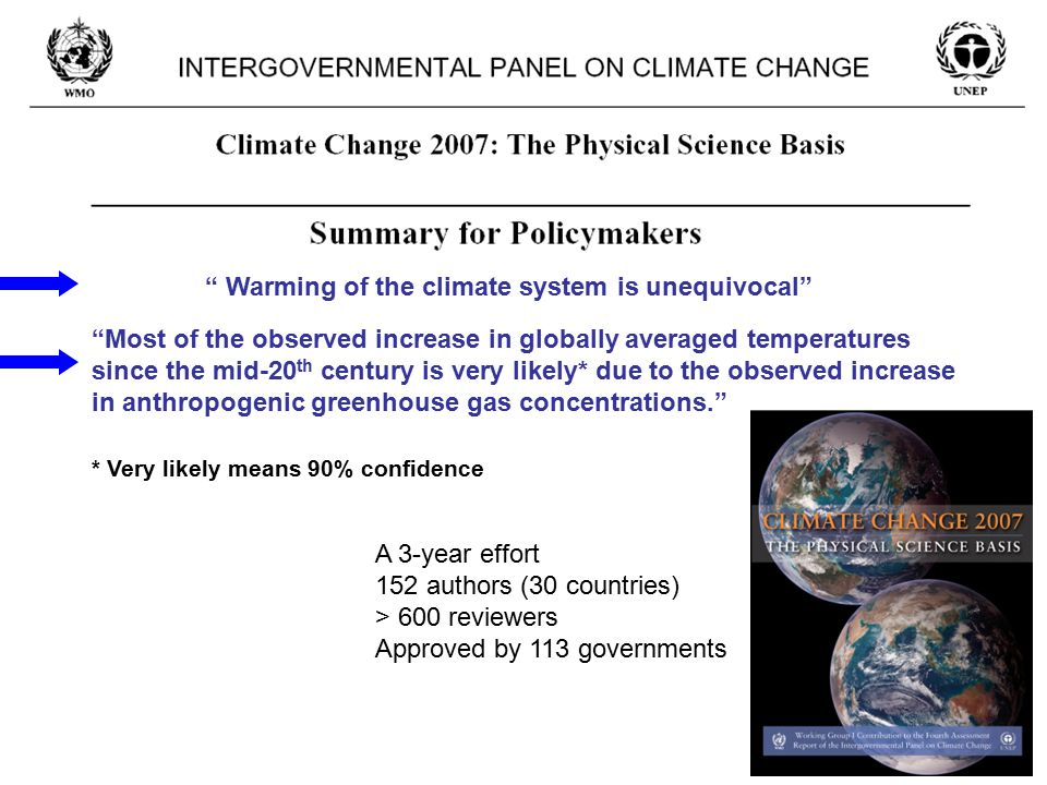 """ Warming of the climate system is unequivocal"" ""Most of the observed increase in globally averaged temperatures since the mid-20 th century is very l"