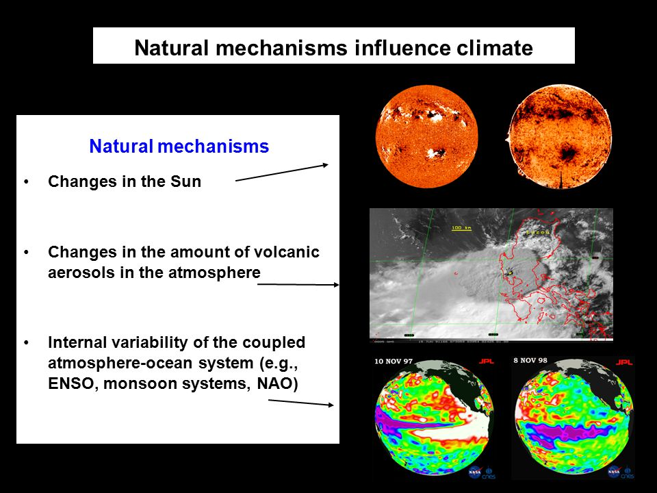 Natural mechanisms influence climate Changes in the Sun Changes in the amount of volcanic aerosols in the atmosphere Internal variability of the coupl