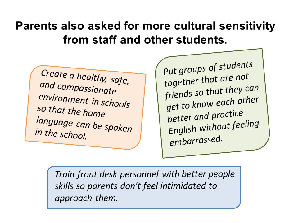 Parents also asked for more cultural sensitivity from staff and other students.