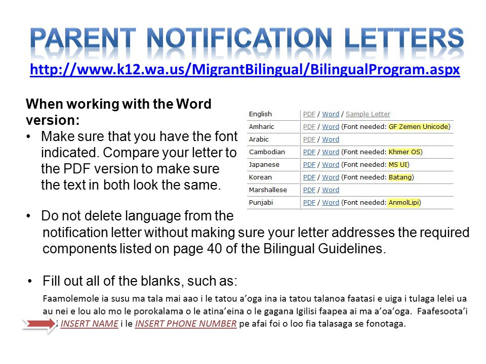 http://www.k12.wa.us/MigrantBilingual/BilingualProgram.aspx When working with the Word version: Make sure that you have the font indicated. Compare yo