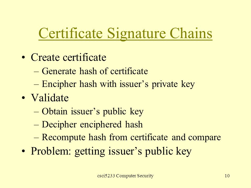 csci5233 Computer Security10 Certificate Signature Chains Create certificate –Generate hash of certificate –Encipher hash with issuer's private key Validate –Obtain issuer's public key –Decipher enciphered hash –Recompute hash from certificate and compare Problem: getting issuer's public key