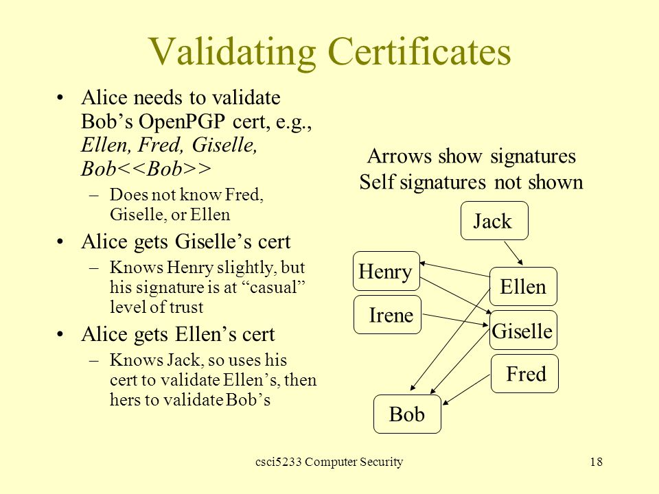 csci5233 Computer Security18 Validating Certificates Alice needs to validate Bob's OpenPGP cert, e.g., Ellen, Fred, Giselle, Bob > –Does not know Fred, Giselle, or Ellen Alice gets Giselle's cert –Knows Henry slightly, but his signature is at casual level of trust Alice gets Ellen's cert –Knows Jack, so uses his cert to validate Ellen's, then hers to validate Bob's Bob Fred Giselle Ellen Irene Henry Jack Arrows show signatures Self signatures not shown