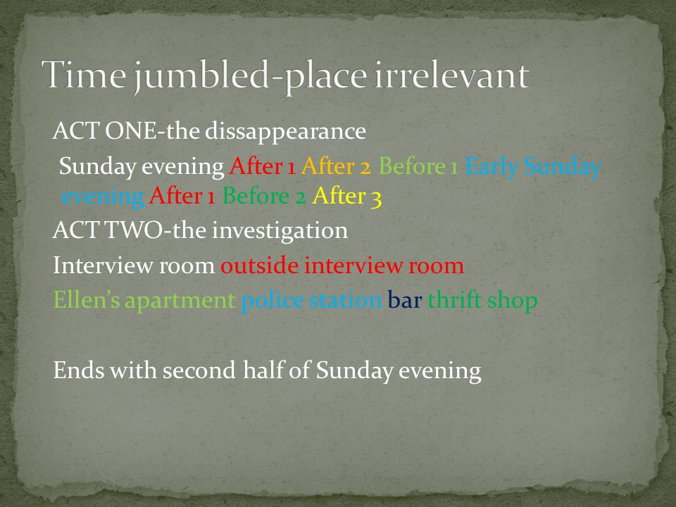ACT ONE-the dissappearance Sunday evening After 1 After 2 Before 1 Early Sunday evening After 1 Before 2 After 3 ACT TWO-the investigation Interview room outside interview room Ellen's apartment police station bar thrift shop Ends with second half of Sunday evening