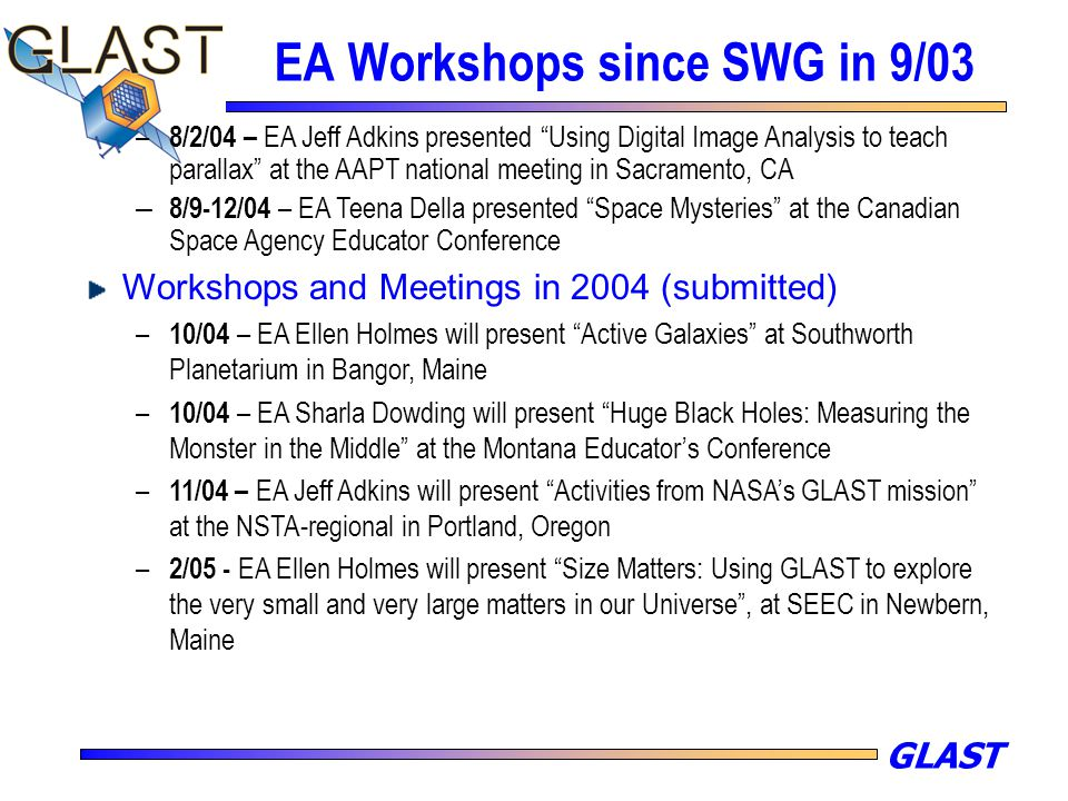 "GLAST EA Workshops since SWG in 9/03 – 8/2/04 – EA Jeff Adkins presented ""Using Digital Image Analysis to teach parallax"" at the AAPT national meeting"