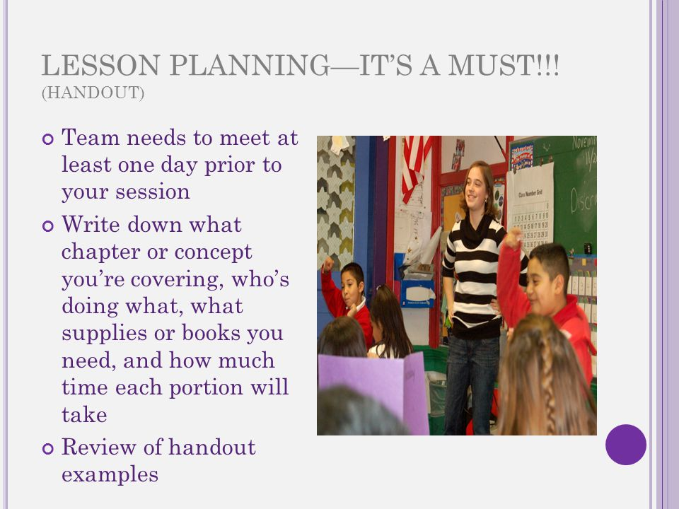 LESSON PLANNING—IT'S A MUST!!.