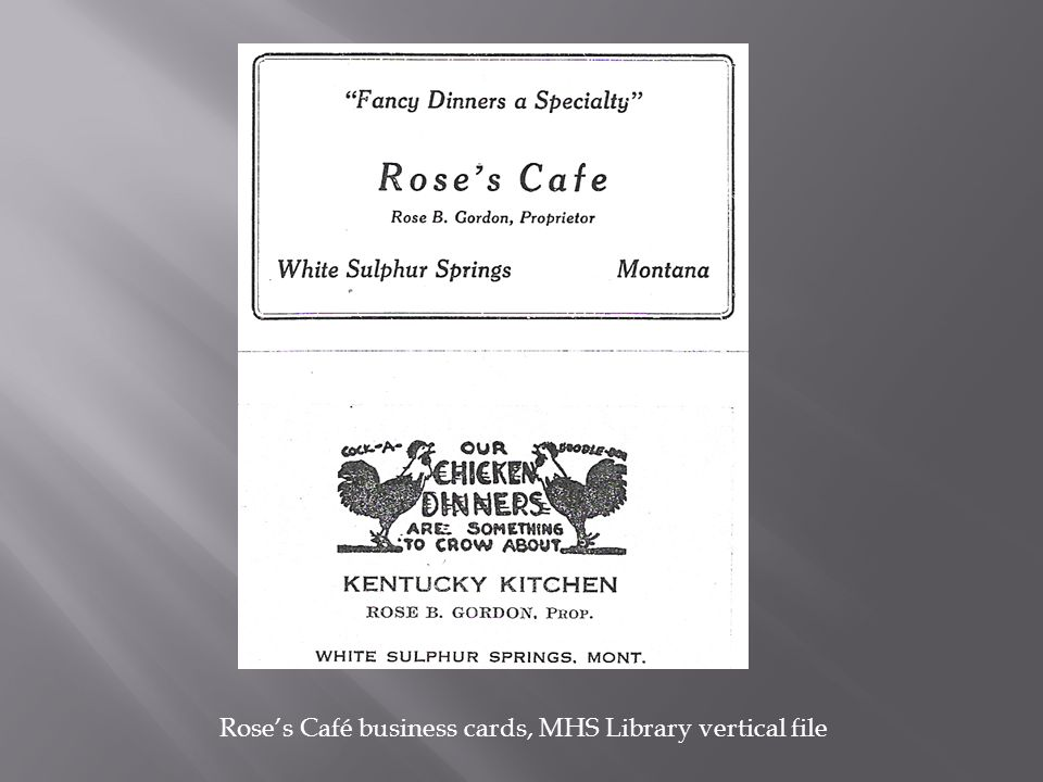 Rose's Café business cards, MHS Library vertical file