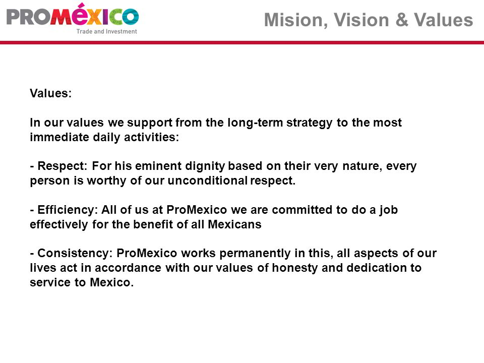 ….among others. Mision, Vision & Values