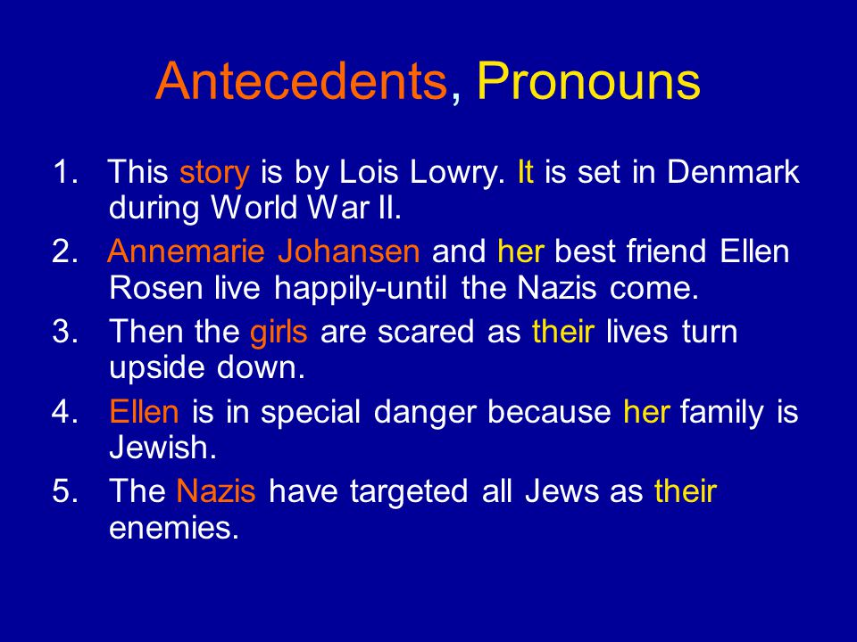 Antecedents, Pronouns 1.This story is by Lois Lowry.