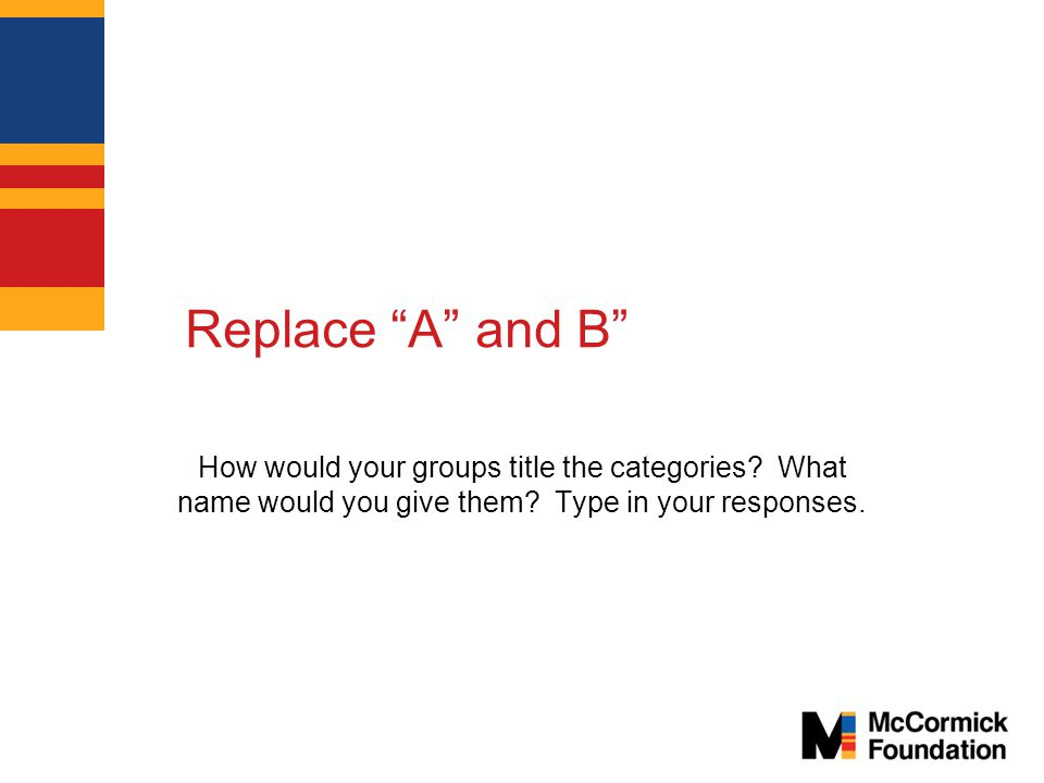 Replace A and B How would your groups title the categories.