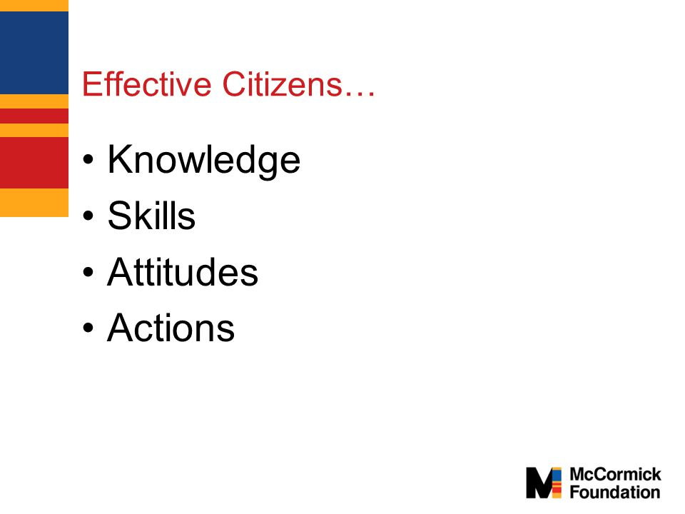 Effective Citizens… Knowledge Skills Attitudes Actions