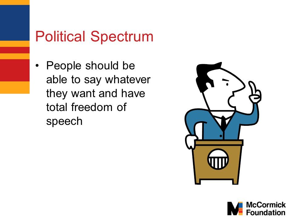 Political Spectrum People should be able to say whatever they want and have total freedom of speech