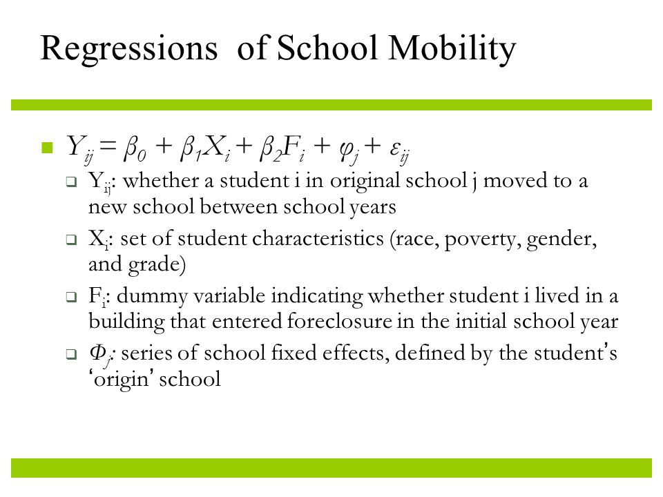 Regressions of School Mobility Y ij = β 0 + β 1 X i + β 2 F i + φ j + ε ij  Y ij : whether a student i in original school j moved to a new school between school years  X i : set of student characteristics (race, poverty, gender, and grade)  F i : dummy variable indicating whether student i lived in a building that entered foreclosure in the initial school year  Φ j : series of school fixed effects, defined by the student's 'origin' school