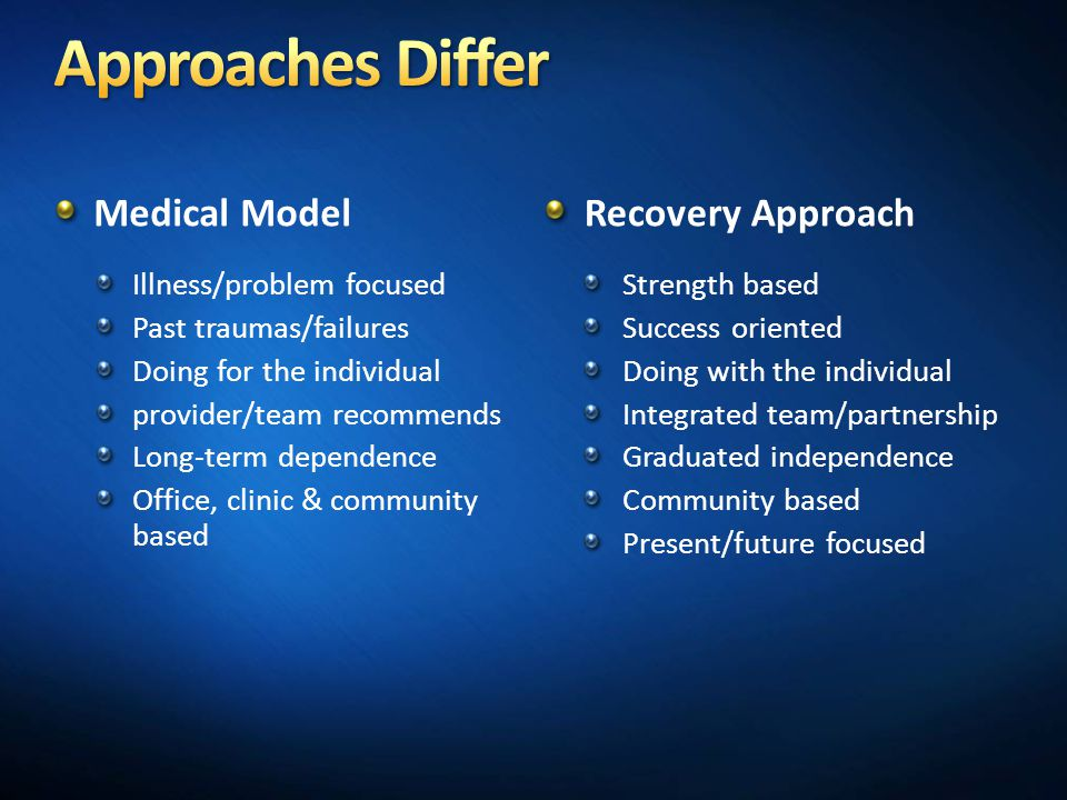 Medical Model Illness/problem focused Past traumas/failures Doing for the individual provider/team recommends Long-term dependence Office, clinic & community based Recovery Approach Strength based Success oriented Doing with the individual Integrated team/partnership Graduated independence Community based Present/future focused