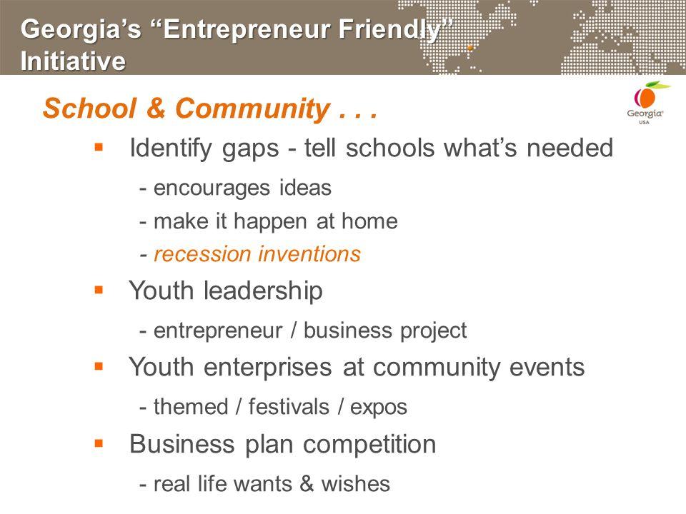 Georgia's Entrepreneur Friendly Initiative School & Community...