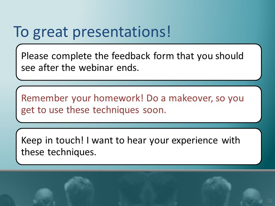 To great presentations.