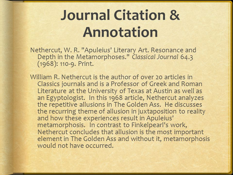 Journal Citation & Annotation Nethercut, W. R. Apuleius Literary Art.
