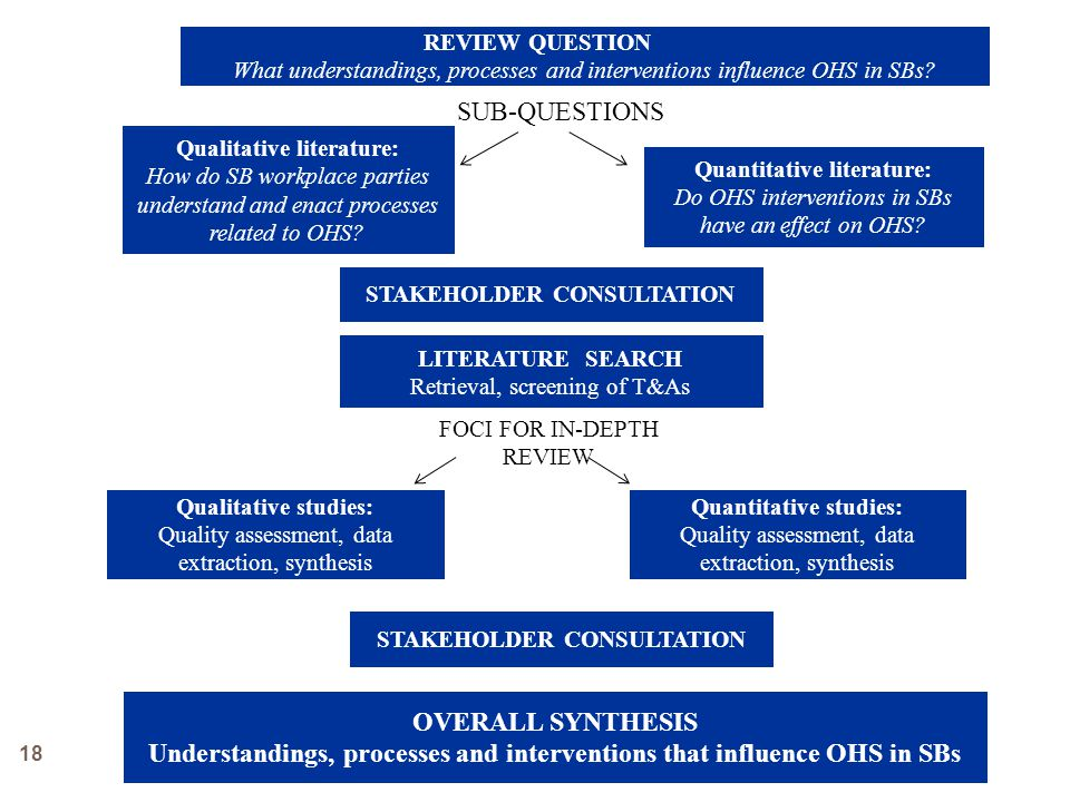 SUB-QUESTIONS Qualitative literature: How do SB workplace parties understand and enact processes related to OHS.