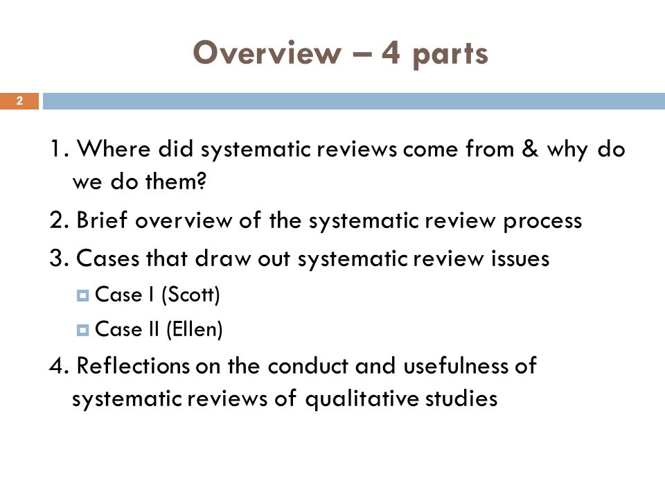 Overview – 4 parts 1. Where did systematic reviews come from & why do we do them.