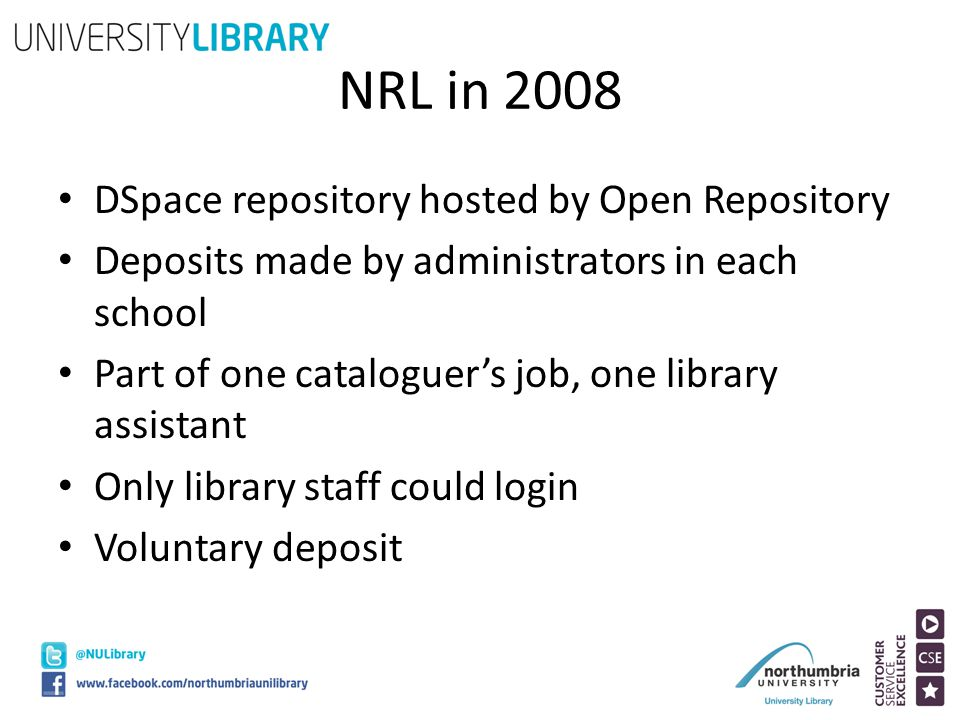NRL in 2008 DSpace repository hosted by Open Repository Deposits made by administrators in each school Part of one cataloguer's job, one library assis