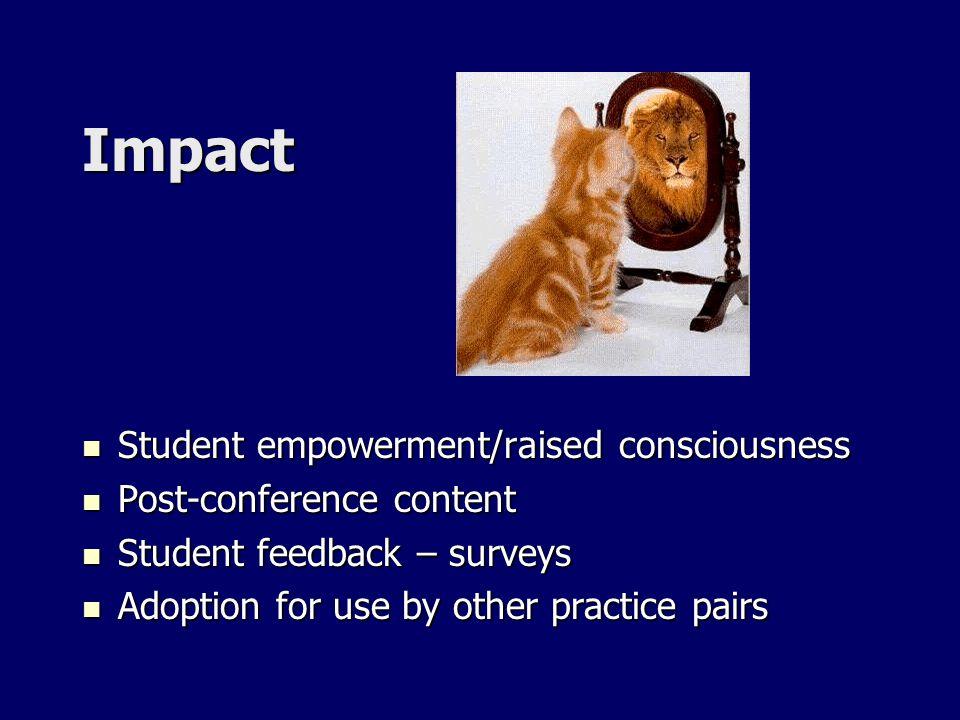 Impact Student empowerment/raised consciousness Student empowerment/raised consciousness Post-conference content Post-conference content Student feedb