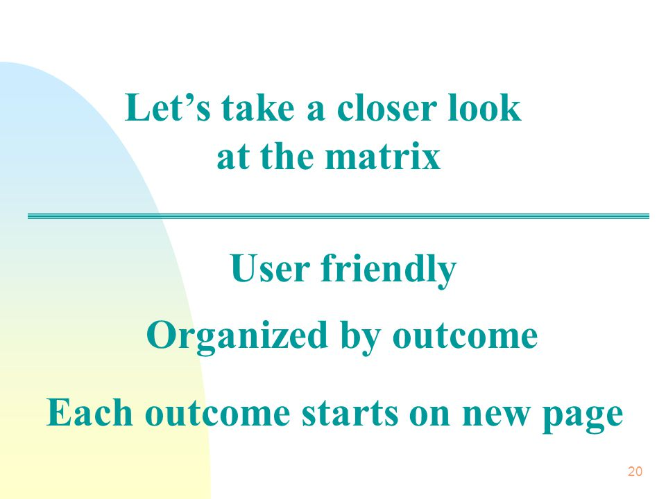 20 Let's take a closer look at the matrix User friendly Organized by outcome Each outcome starts on new page
