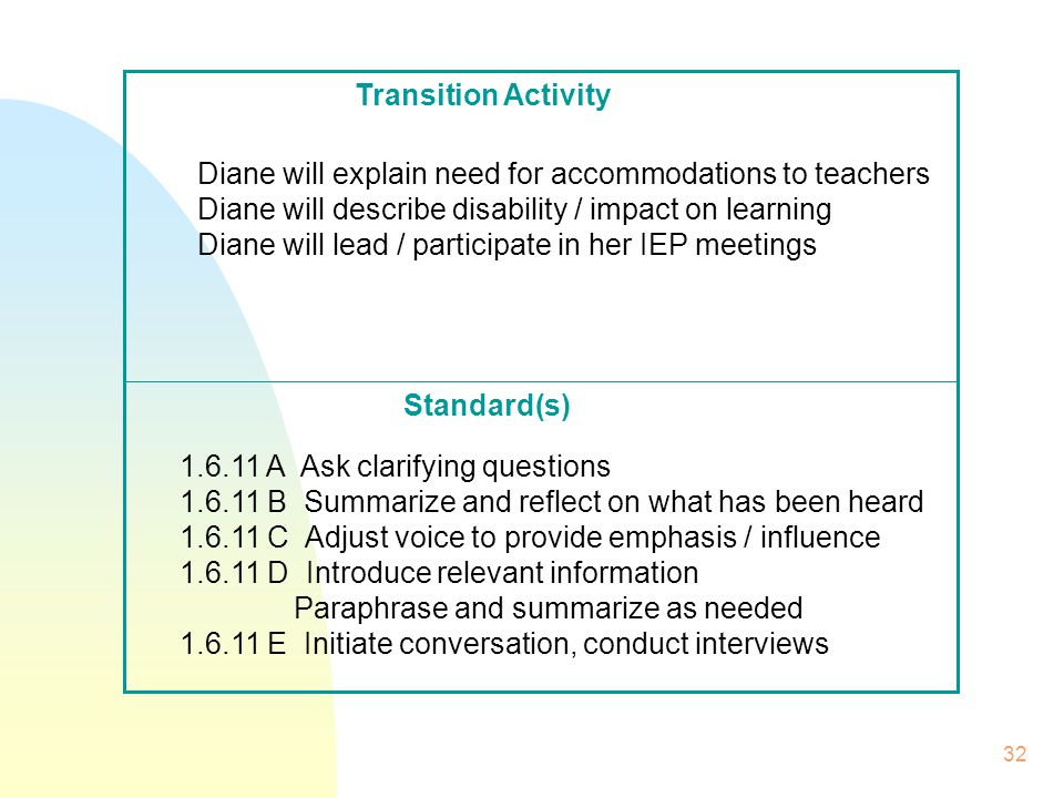 32 Standard(s) Transition Activity Diane will explain need for accommodations to teachers Diane will describe disability / impact on learning Diane will lead / participate in her IEP meetings 1.6.11 A Ask clarifying questions 1.6.11 B Summarize and reflect on what has been heard 1.6.11 C Adjust voice to provide emphasis / influence 1.6.11 D Introduce relevant information Paraphrase and summarize as needed 1.6.11 E Initiate conversation, conduct interviews
