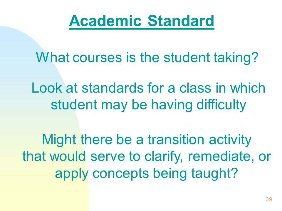 39 Academic Standard What courses is the student taking.