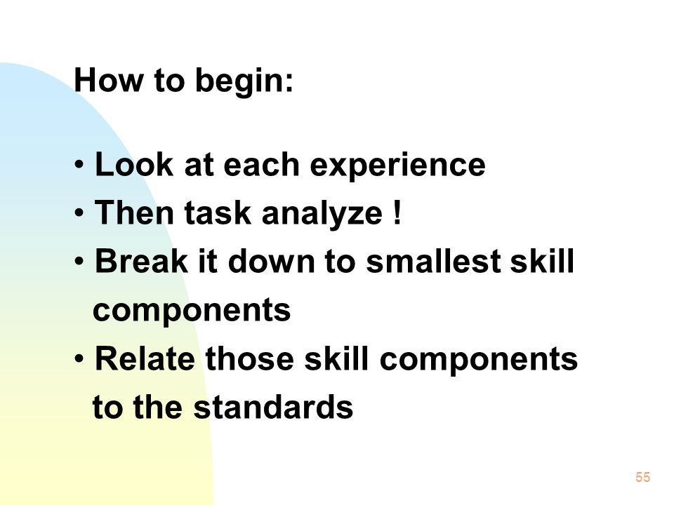 55 How to begin: Look at each experience Then task analyze .