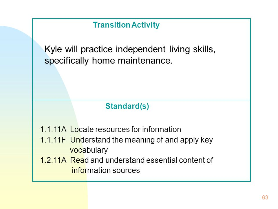 63 Standard(s) Transition Activity Kyle will practice independent living skills, specifically home maintenance.