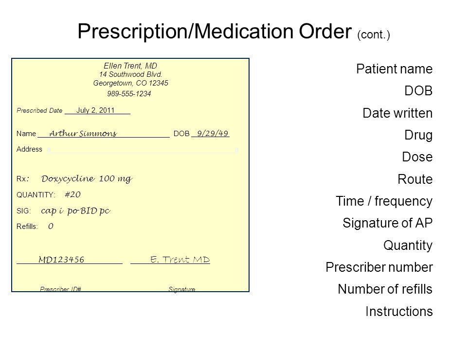 Prescription/Medication Order (cont.) Patient name DOB Date written Drug Dose Route Time / frequency Signature of AP Quantity Prescriber number Number of refills Instructions Arthur Simmons 9/29/49 July 2,2010 Doxycycline100 mg po BID pc cap i E.