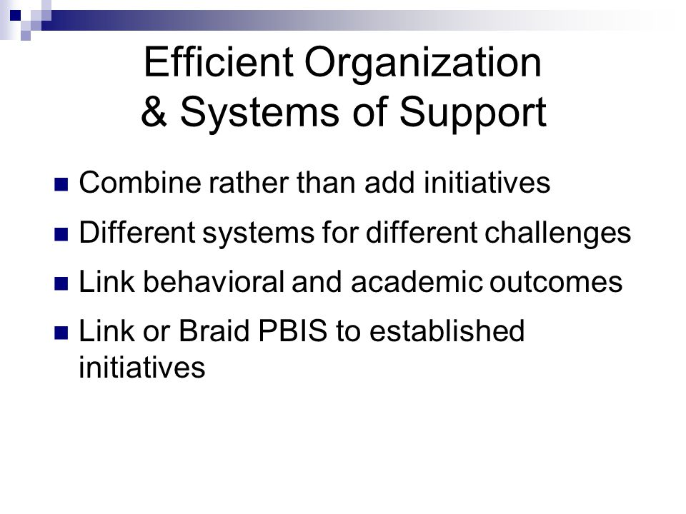 Efficient Organization & Systems of Support Combine rather than add initiatives Different systems for different challenges Link behavioral and academic outcomes Link or Braid PBIS to established initiatives