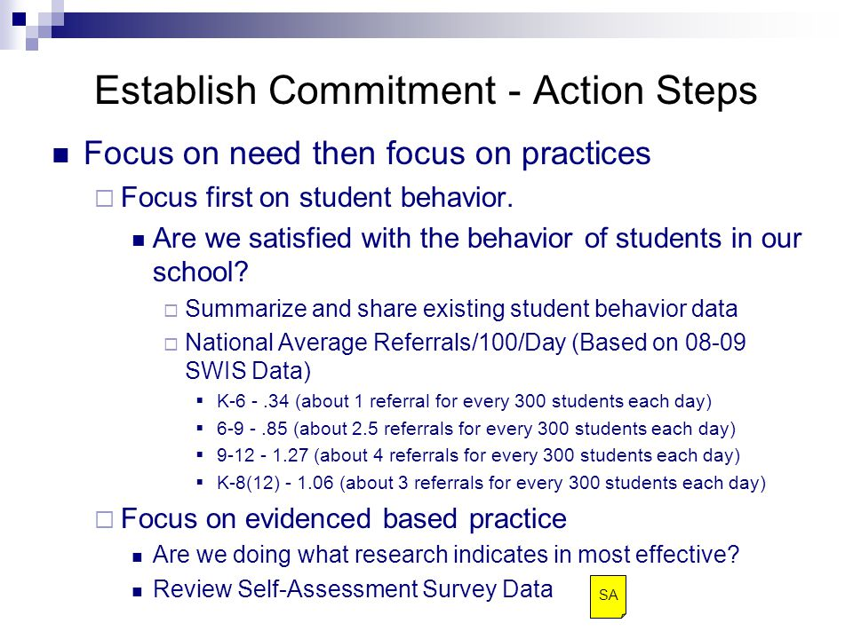 Establish Commitment - Action Steps Focus on need then focus on practices  Focus first on student behavior.