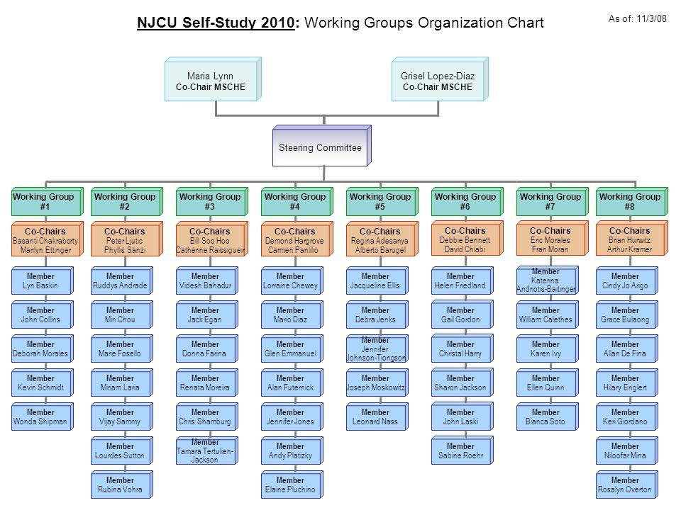 NJCU Self-Study 2010: Working Groups Organization Chart Working Group #1 Working Group #4 Working Group #2 Working Group #5 Working Group #3 Working G