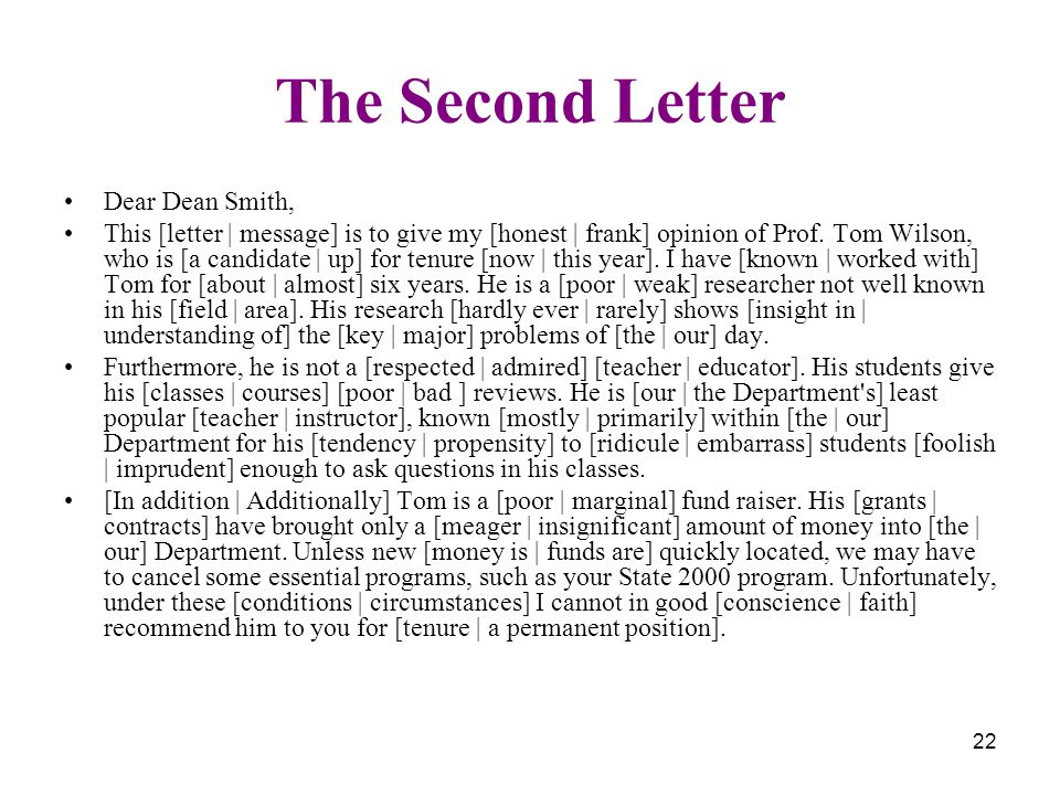 22 The Second Letter Dear Dean Smith, This [letter | message] is to give my [honest | frank] opinion of Prof. Tom Wilson, who is [a candidate | up] fo