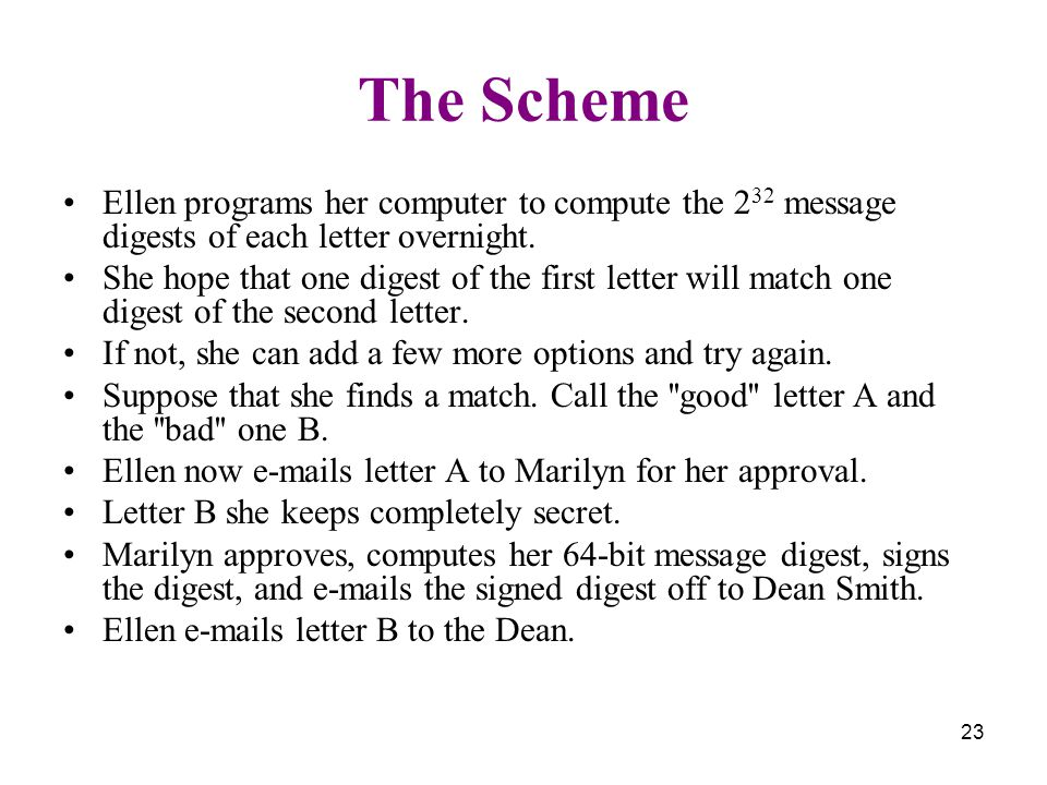 23 The Scheme Ellen programs her computer to compute the 2 32 message digests of each letter overnight. She hope that one digest of the first letter w