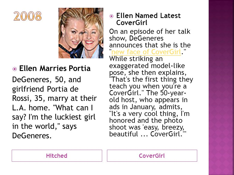 HitchedCoverGirl  Ellen Marries Portia DeGeneres, 50, and girlfriend Portia de Rossi, 35, marry at their L.A.