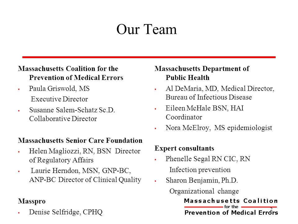 Our Team Massachusetts Coalition for the Prevention of Medical Errors  Paula Griswold, MS Executive Director  Susanne Salem-Schatz Sc.D. Collaborati
